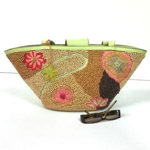 Sigrid Olsen Straw Wood Beads Tote Purse